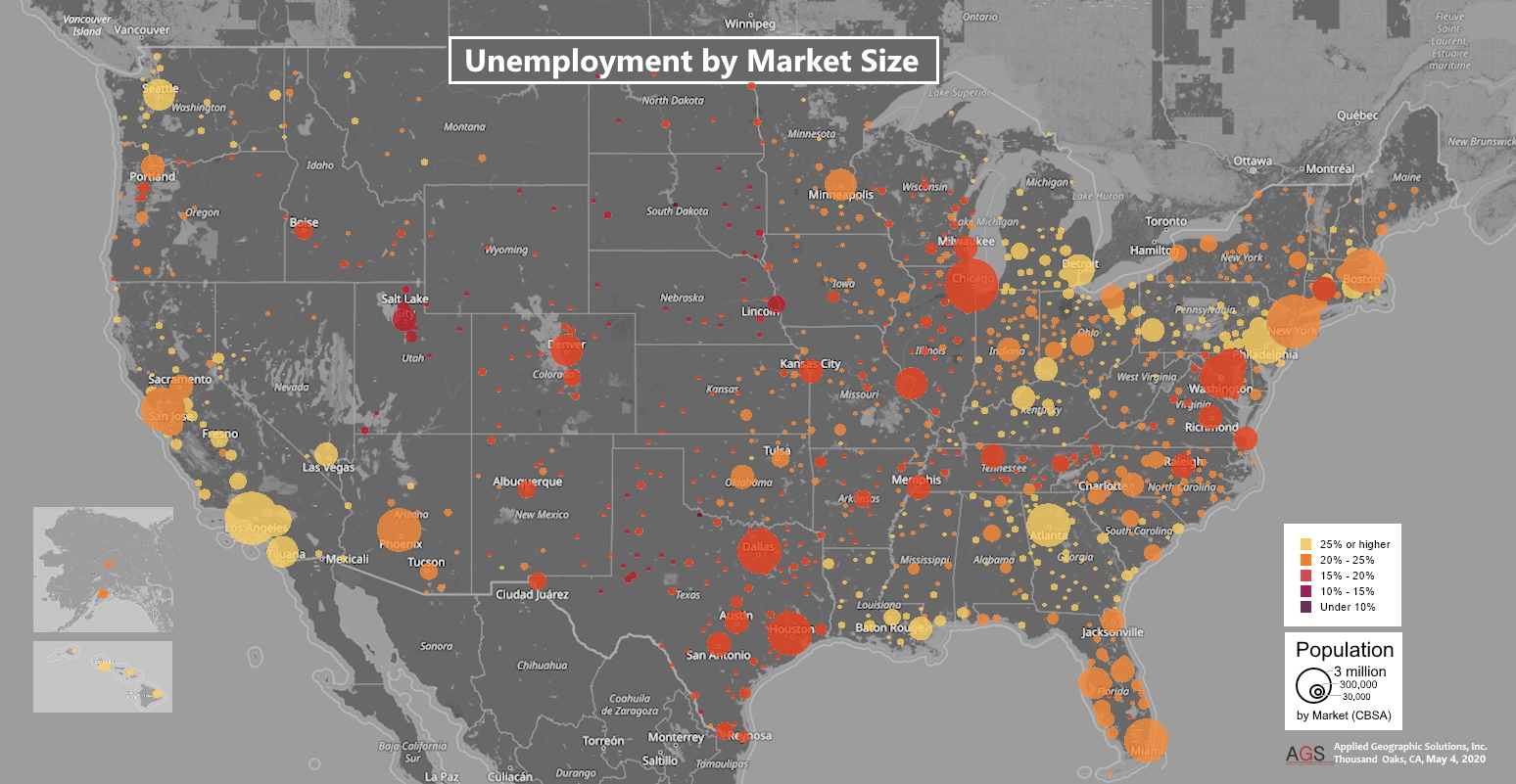 Unemployment by Market Size | 4/18/20 and 4/27/20